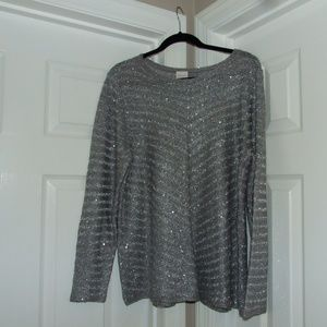 Chico's Open Knit Silver Sweater W/Sequins 4 (20)